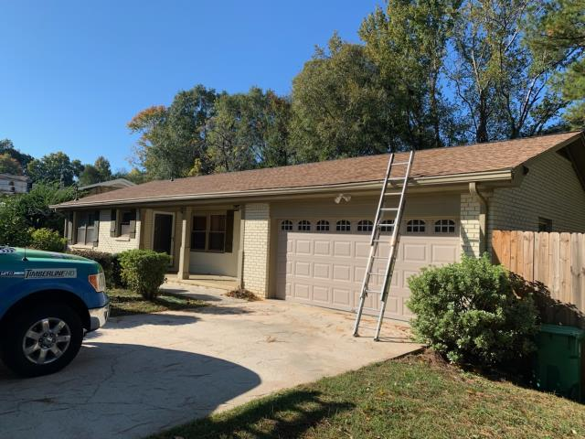 Atlanta, GA - Customer had roof installed and chose shakewood for the shingle color. Product used for roof install: GAF Timberline HD Architectural Shingle.