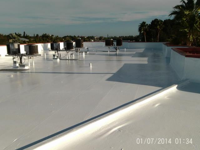 Saint Pete Beach, FL - This photo shows a roof that has been coated with