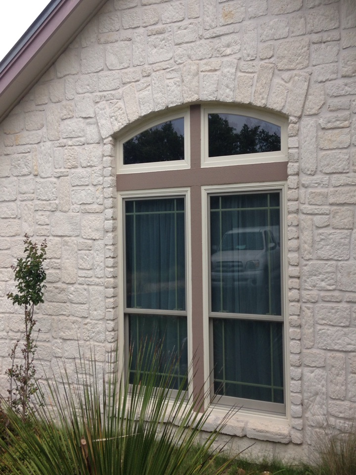 Boerne, TX - Twin double hung canvas colored windows with 2 arch top picture windows above