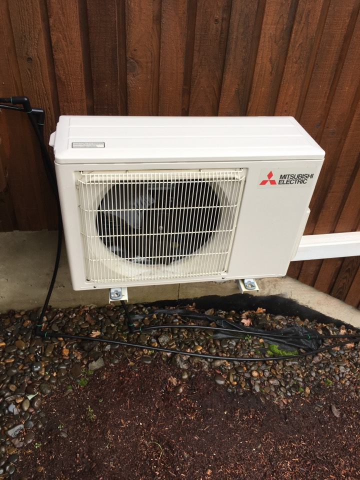 Performing a maintenance service call. Tune up on a Mitsubishi ductless heat pump.