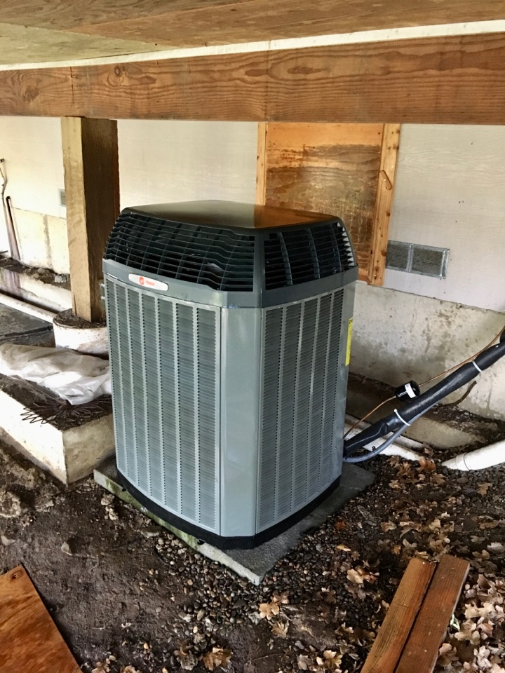 Springfield, OR - Performing a maintenance service call. Tune up on a Trane heat pump. Heating and cooling.