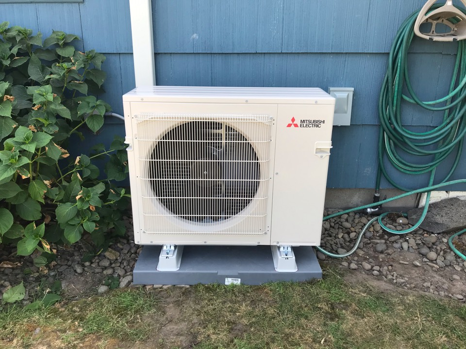 Shedd, OR - Mitsubishi ductless heat pump system installation with 3 indoor heads.
