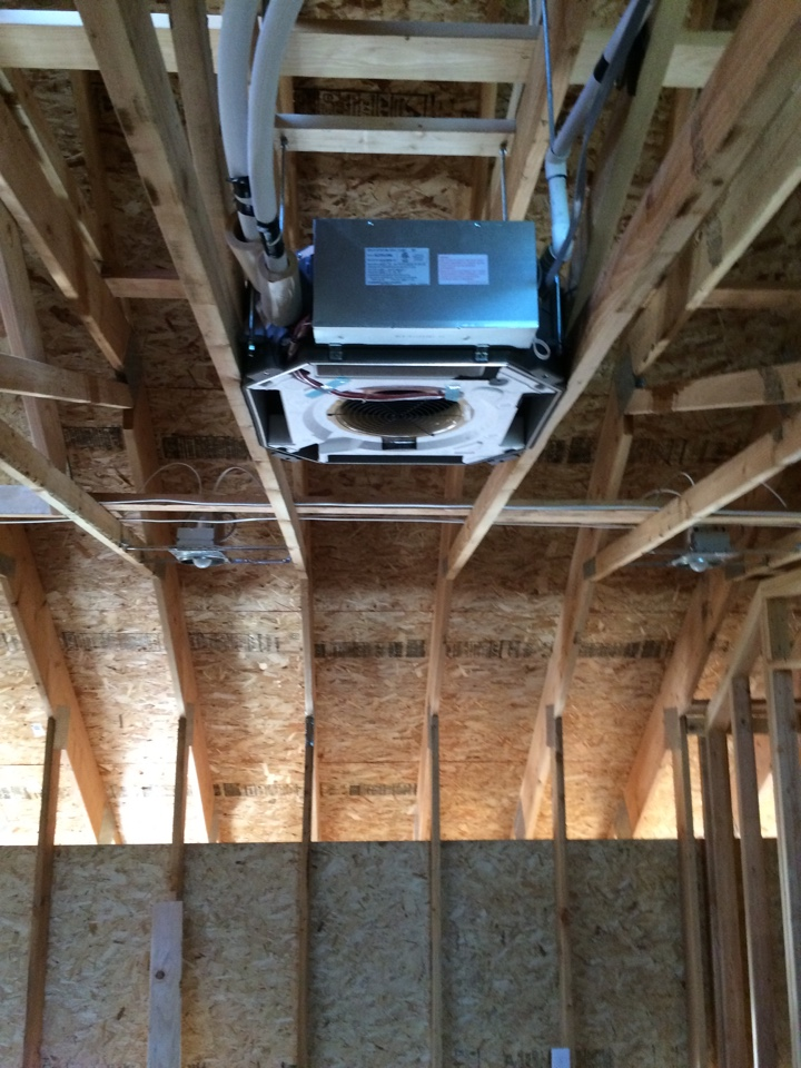Scio, OR - Roughed in Mitsubishi ceiling cassette ductless heat pump