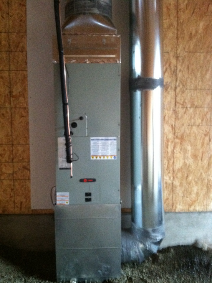 Scio, OR - Installed air handler and ductwork in new home.