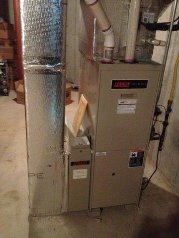 Glastonbury, CT - Heat maintenance on Lennox gas furnace and Bradford White water heater.