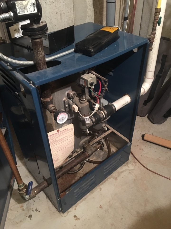Rocky Hill, CT - No heat service call on a Dunkirk boiler.  Replaced defective hot surface igniter.