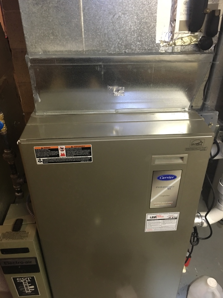 Berlin, CT - Performance tune up on Carrier gas furnace and Bradford White water heater. No heat. Service call. Furnace inspection.
