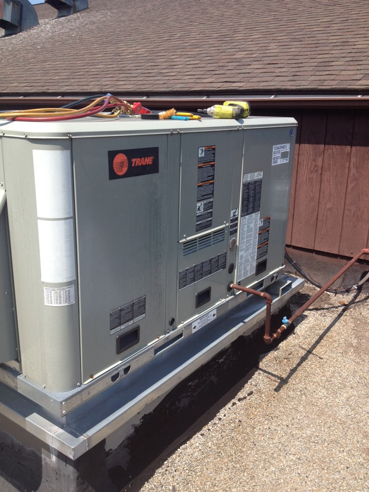 Cromwell, CT - Customer is new to space and was having issues with no airconditioning from a Trane packaged roof top unit . We found some bad thermos stat wire back feeding the low voltage as well as the return was buried in the ceiling.
