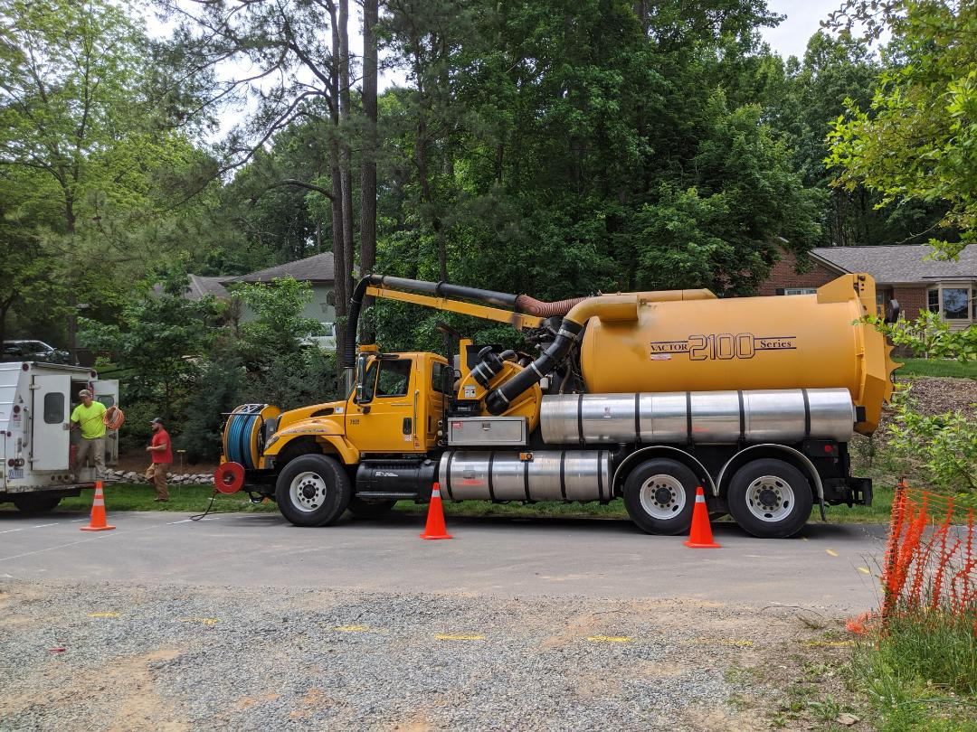 Hydro excavation for a water and sewer tap inside the City of Raleigh for a residential house
