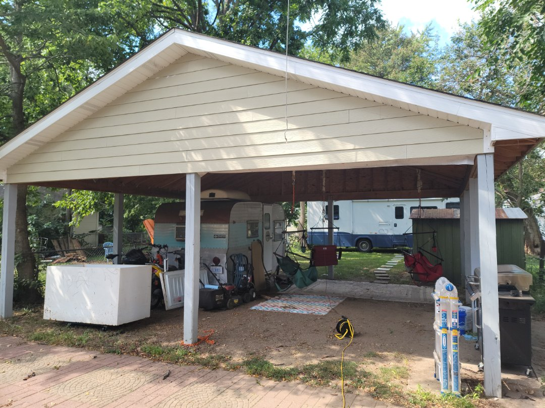 Aurora, IL - Meeting with client to discuss me gutters and fascia for their pavilion in back yard