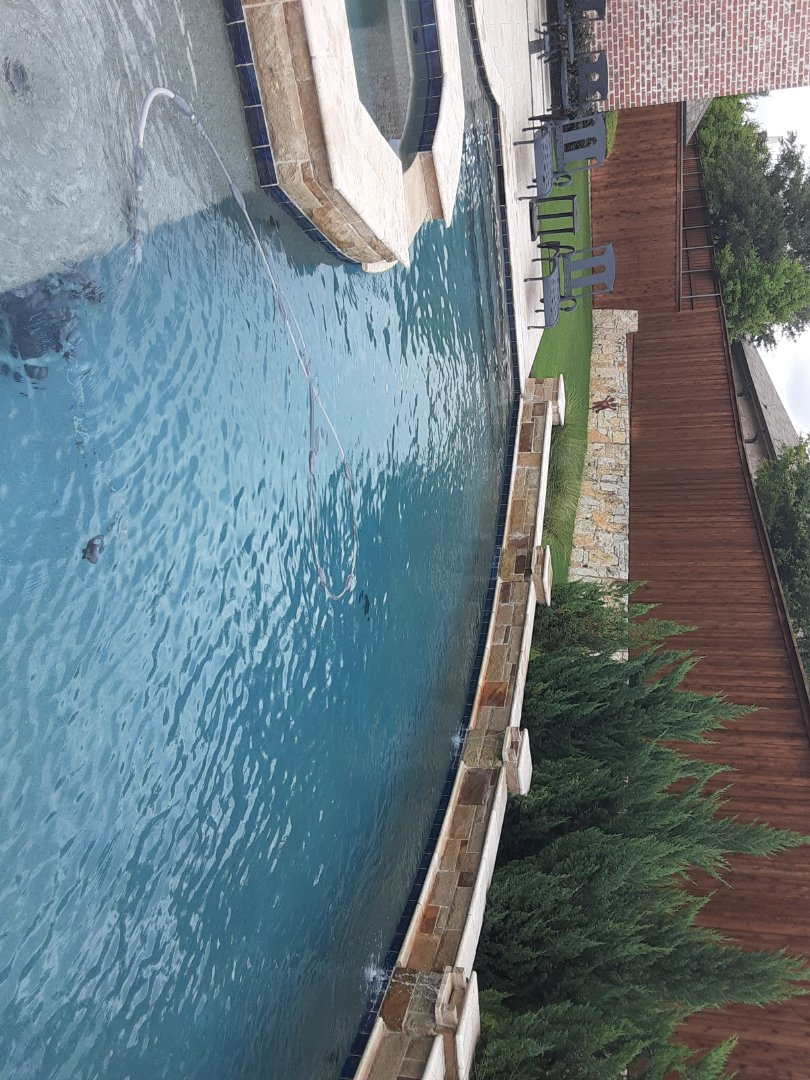 Plano, TX - Pool remodeling estimates and back yard measurements taken