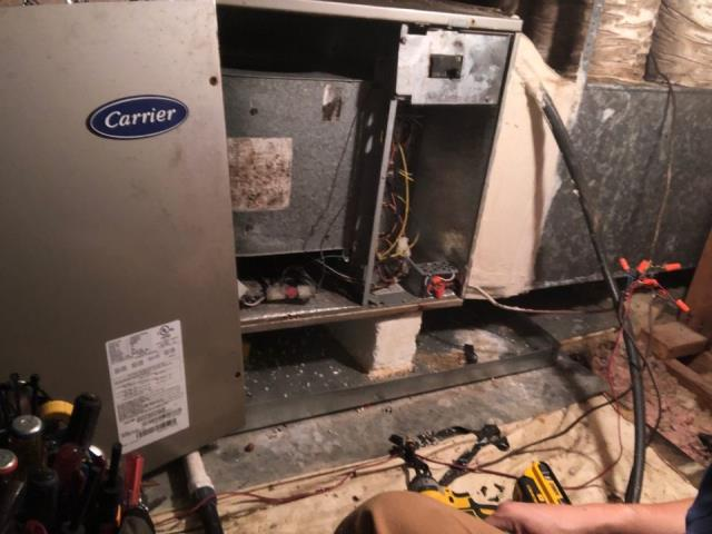 Manchaca, TX - Conducted cooling check 2020 on attic installed heat pump system. The system is cooling properly at this time.