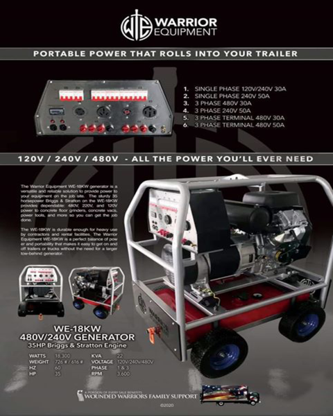 Morehead City, NC - Did you know we offer rentals on our Warrior Equipment concrete grinders and Warrior Generators? Give us a call for concrete grinder rentals at (877)-743-9732.