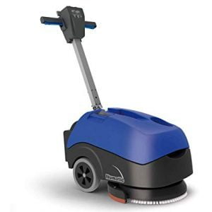 Check out our TTB 516 Floor Scrubber. This machine is a concrete power scrubber with an interchangeable battery pack. With indicators located on the handle, you will be able to easily check the status of the water, vacuum, brush motor, and batter all in the same place!