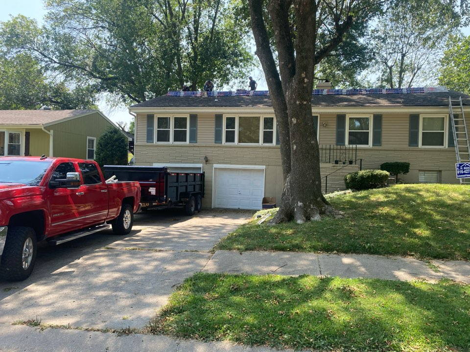 Kansas City, MO - Doing a full roof replacement, some wood work and replacing the gutters with some 5'' gutters and 3*4 downspouts. Installing ez-flow gutter guards
