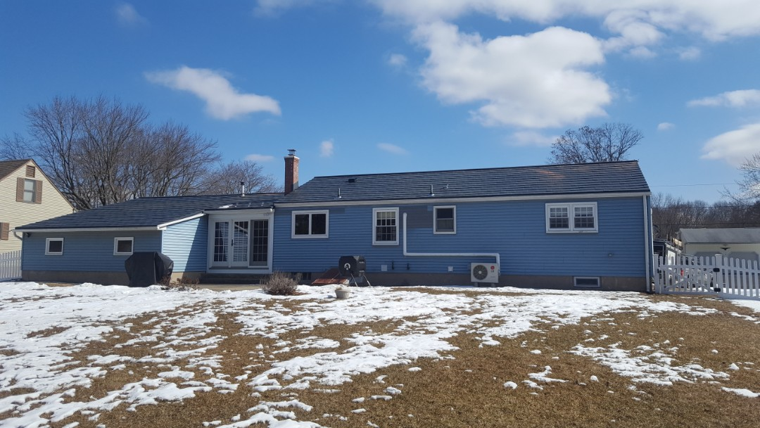Enfield, CT - Aluminum metal shingles on a one story home in Enfield Conn is completed
