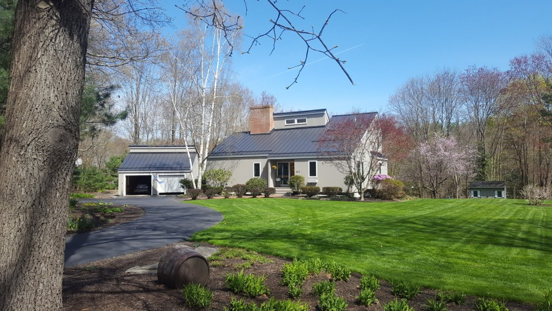 Stow, MA - Aluminum standing seam metal roof.