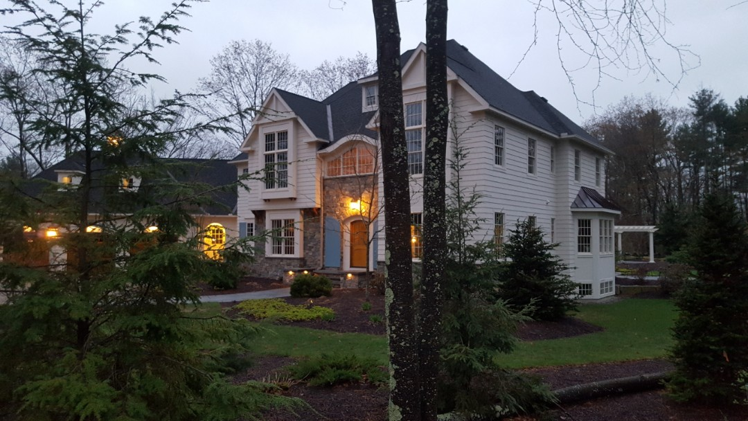 Bedford, NH - Nice copper accent roof on this large modern colonial.