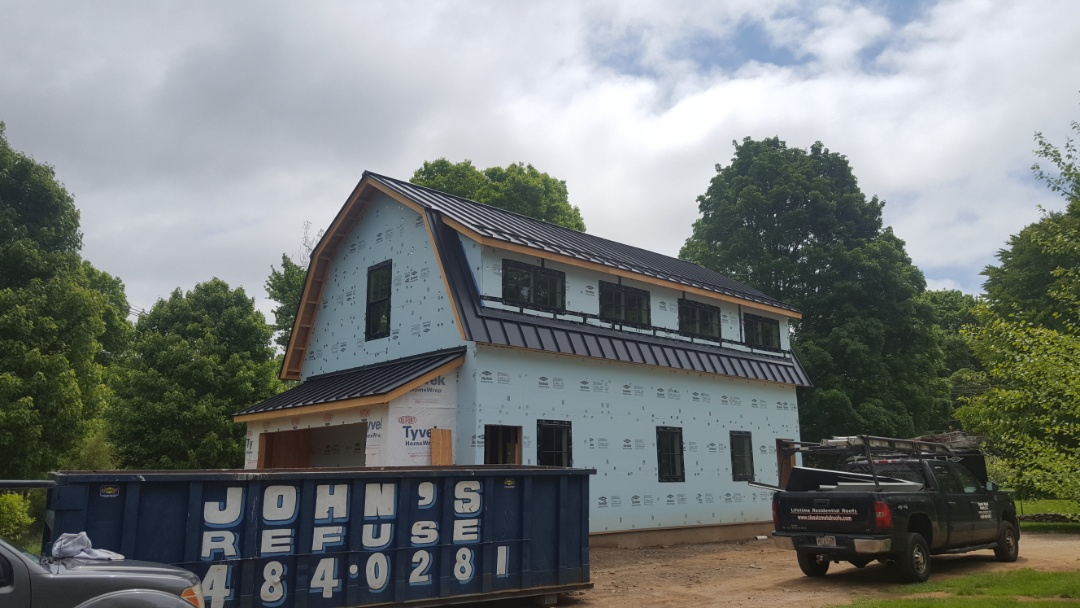 Madison, CT - Almost complete on msdison conn .Aluminium metal standing seam roof