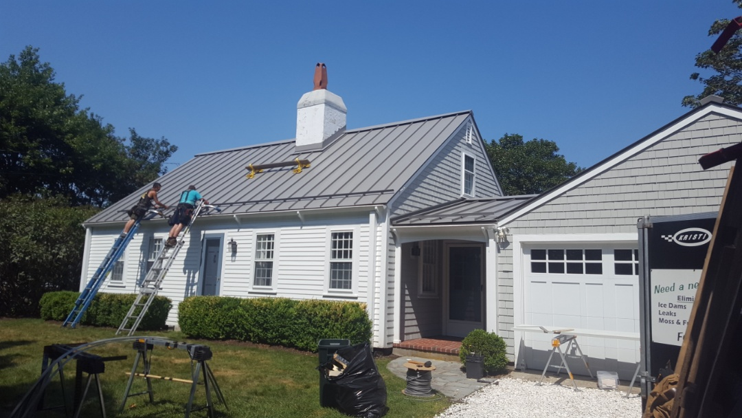 Dartmouth, MA - New aluminum standing seam roof  color slate gray in south Dartmouth