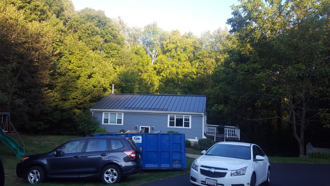 Hopkinton, MA - Just completed aluminum standing seam roof color matte black in Hopkinton Mass