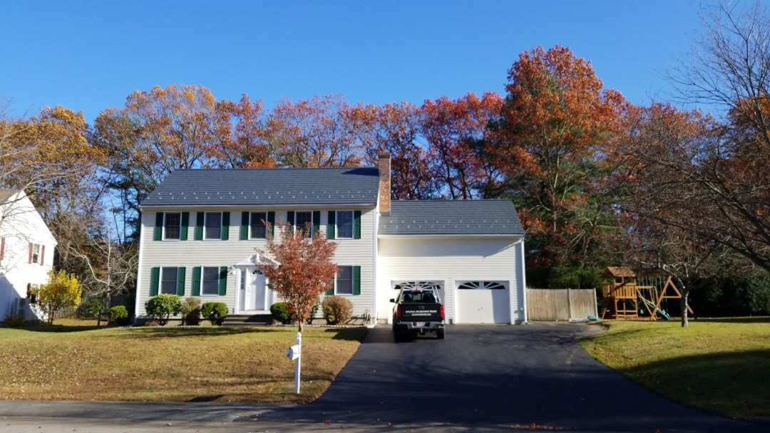 Maynard, MA - Just done. 2 story classic colonial with our beautiful Oxford slate aluminum shingle.