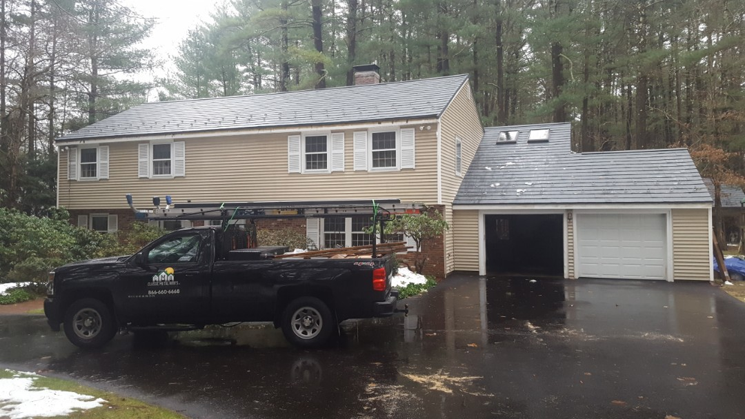 Bedford, MA - New aluminum metal roof color Vermount Slate.