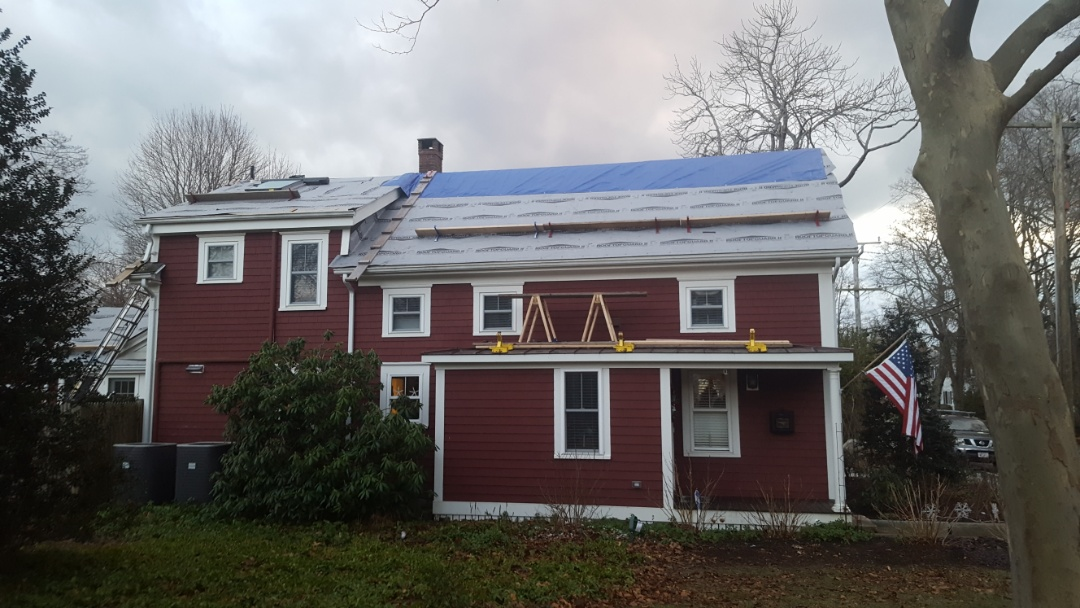 Falmouth, MA - Just getting under way in Falmouth Mass. Coming soon aluminum standing seam metal roof .