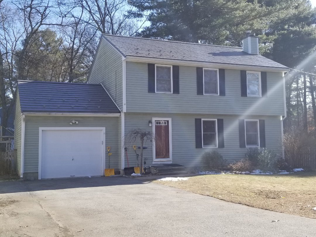 Sudbury, MA - Quaint 2 story colonial with attached garage done with our aluminium metal slate shingle. A roof that will last a lifetime. Eliminates ice dams. Energy star rated.