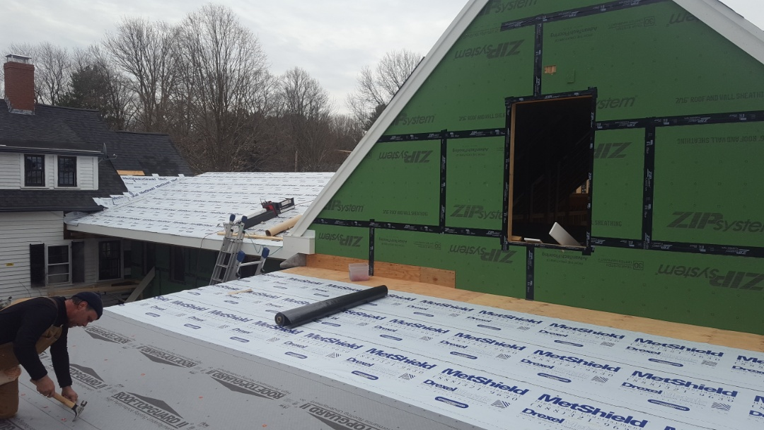 Walpole, MA - Getting prepped for new accent metal roofs in Walpole, Mass.
