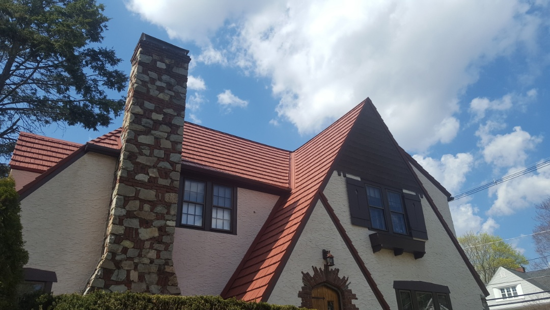 Norwood, MA - Aluminum metal rustic Shake shingles color red in Norwood Mass
