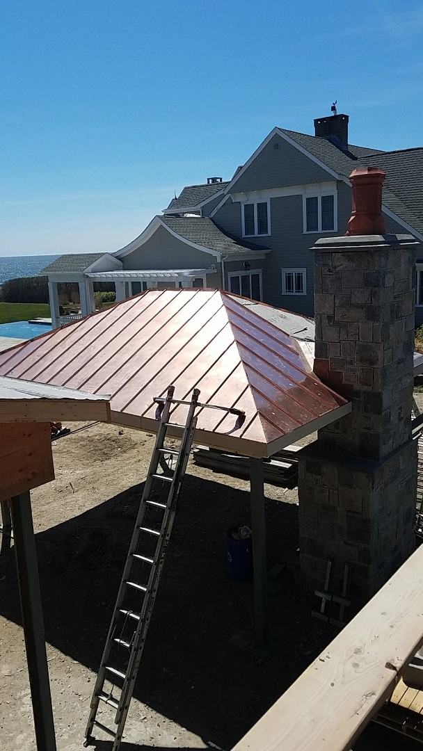 Narragansett, RI - Custom copper panels just installed and soldered on this waterfront pavilion.