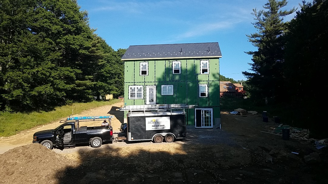Worcester, MA - This new construction 2 story colonial homeowner made a great choice. The  Oxford aluminum slate metal shingle. A lifetime of worry free roofing.