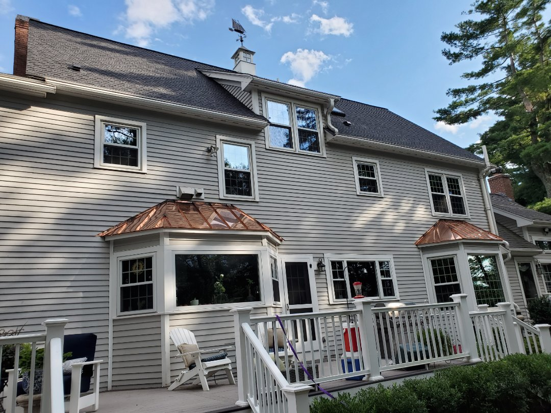 Medfield, MA - 2 copper Bay window accent roofs
