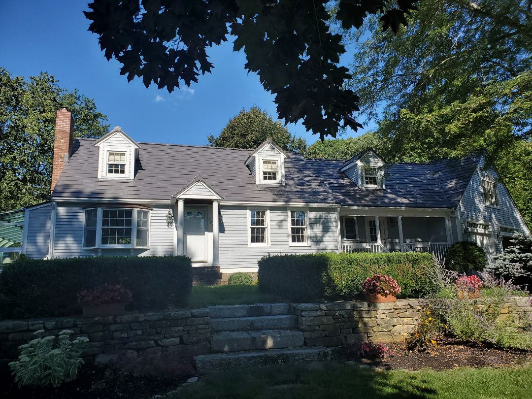 Hanover, MA - Aluminum metal shingles with copper metal Bay window