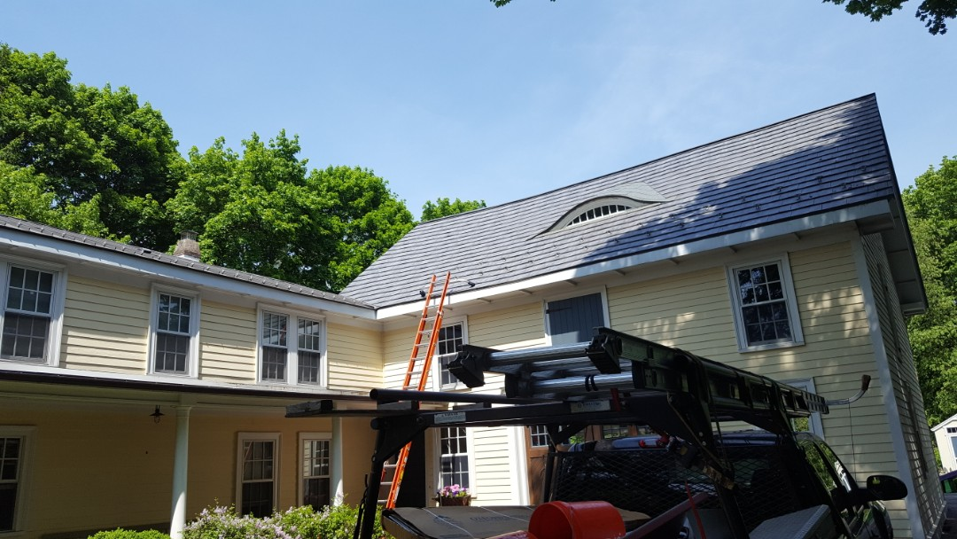 Stow, MA - Medfield,MA Homeowner needed a bathroom vent pipe removed and new aluminum Oxford shingles installed over area around old pipe