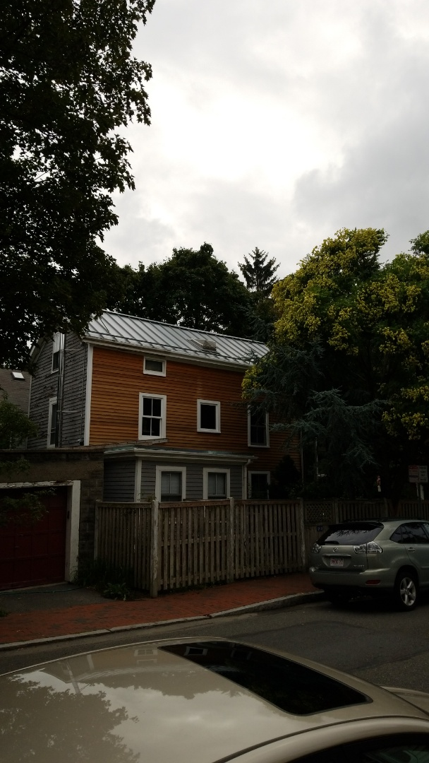 Cambridge, MA - Standing seam aluminum roof. Snow retention importantant on this inner city home.