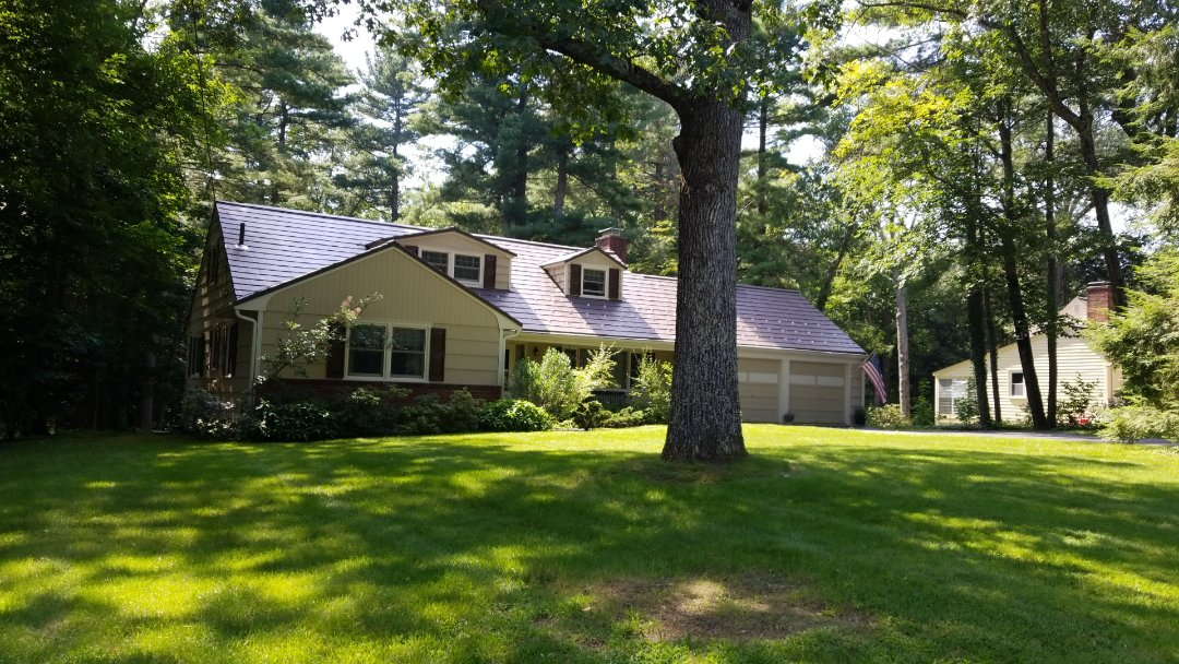 Wayland, MA - Oxford slate aluminum metal roof installation in mustang brown.