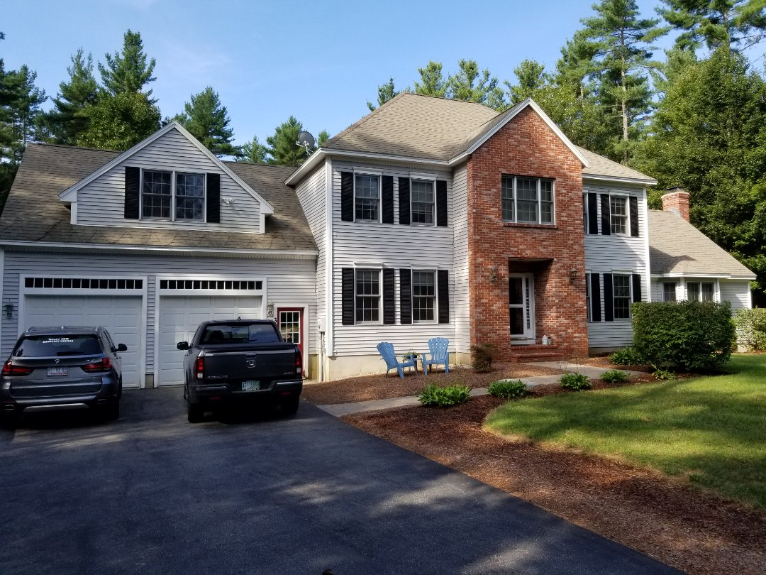 Brookline, NH - This home will be beautiful in an aluminum rustic shake metal roof.