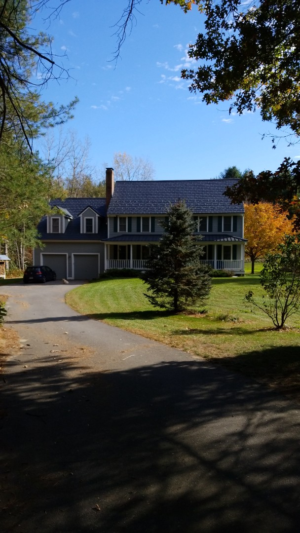 Bolton, MA - Oxford in deep charcoal with standing seam. Aluminum metal roofing at best!