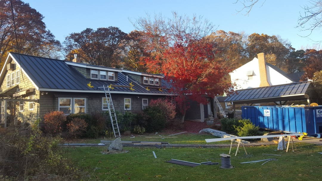 Lincoln, RI - Standing seam aluminum metal roof will be complete tomorrow.