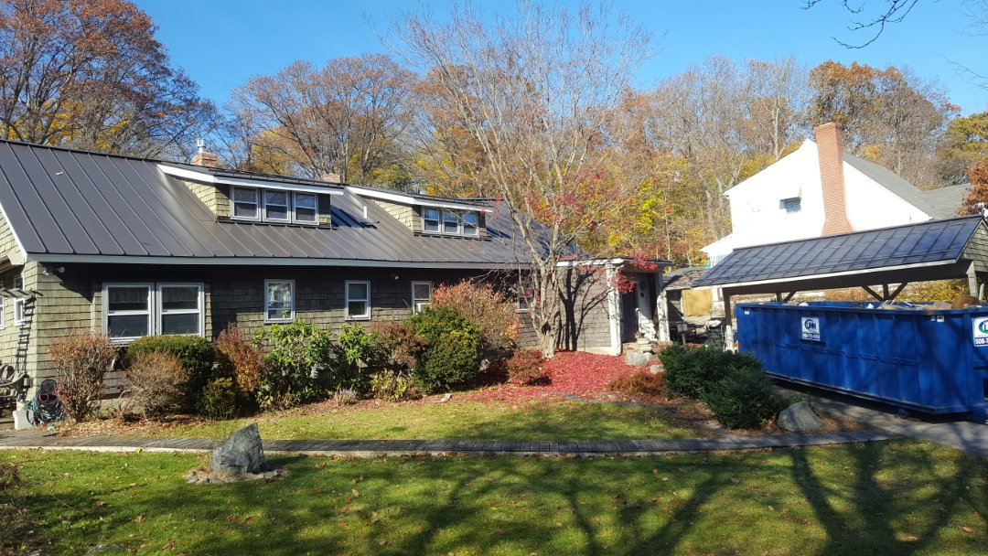 Lincoln, RI - This antique house has a new aluminum standing seam roof.