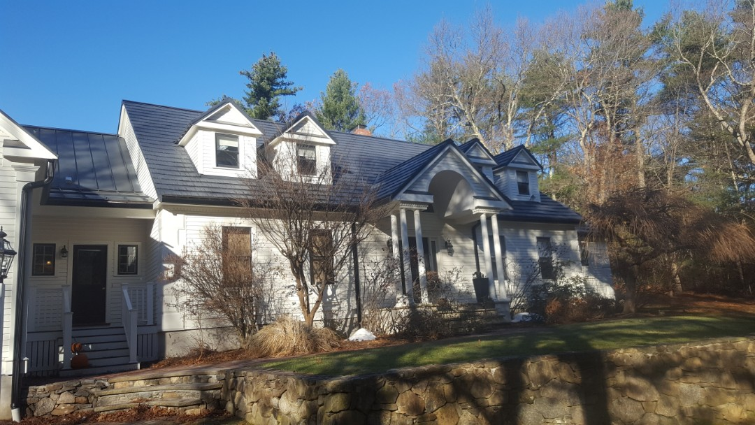 Dover, MA - Adding snow rail on this aluminum metal roof color charcoal gray RUSTIC STYLE