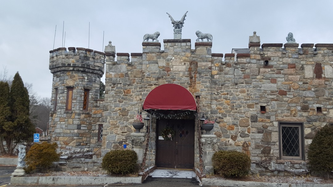 Leicester, MA - An interesting landmark in Leicester MA. The Castle Restaurant has permanent exterior features. The roof is nearly flat and will be a great candidate for IB PVC roofing someday.
