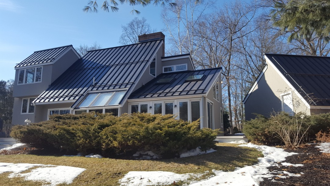 Stow, MA - Aluminum metal roof color black with new skylights