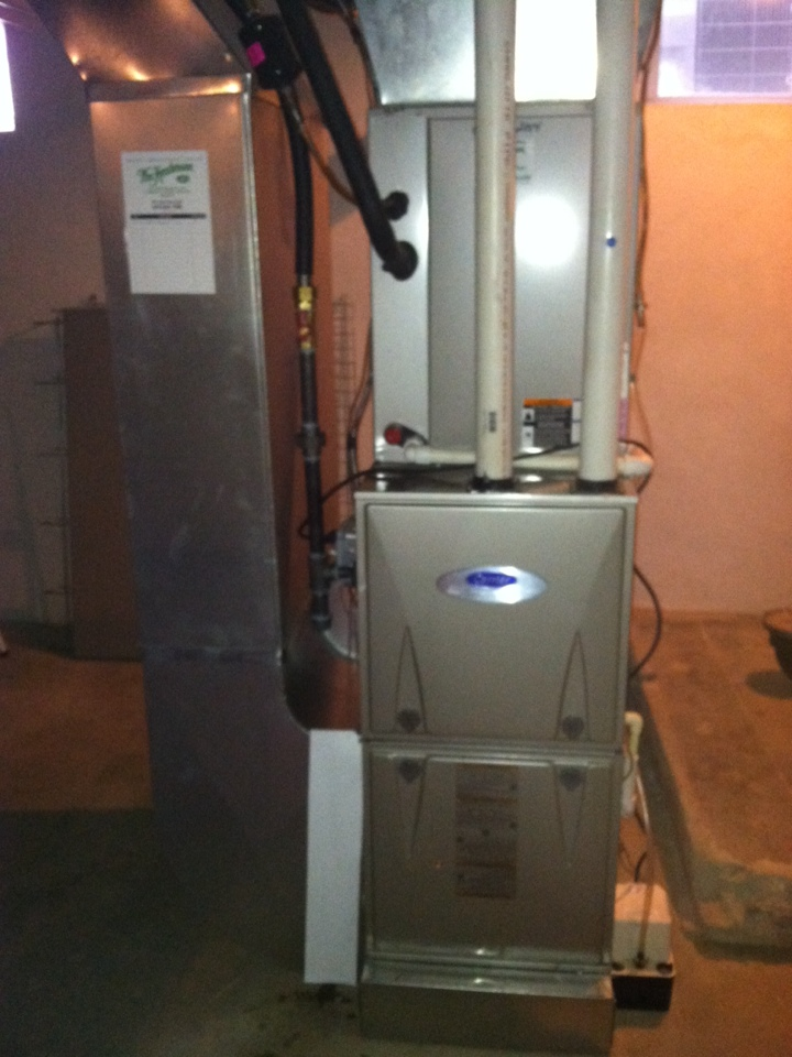 Broomall, PA - Checked gas piping and set up new Carrier high efficient gas furnace in Havertown, Pa.