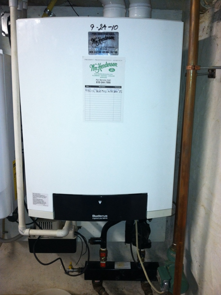Wayne, PA - Performed an annual tune up on a Buderus gas high efficiency boiler in Radnor, Pa.