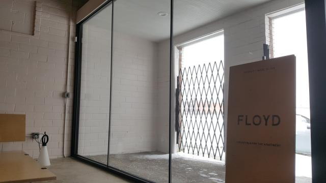 Detroit, MI - Commercial Remodeling Contractor - New Floyd Furniture Headquarters Vestibule.  Check out www.floyddetroit.com for their latest designs.  We self-perform work because we love to create and it ensures quality, timeliness and value in all of our remodeling projects.