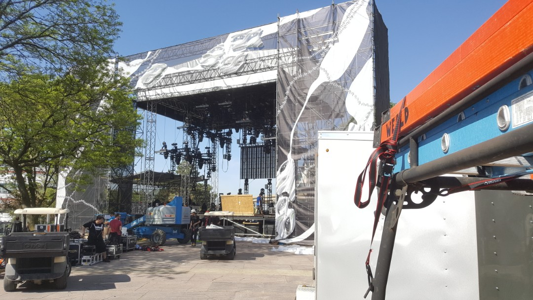 Detroit, MI - Arriving at hart plaza, getting ready to build the VIP structures for the Red Bull stage.   Give us a call for all your carpentry, general contracting, and remodeling needs!