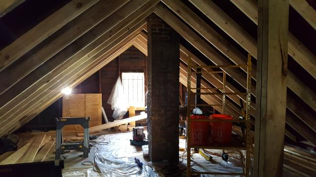 Hamtramck, MI - This attic conversion is well on its way.  Getting ready to frame for the skylights.